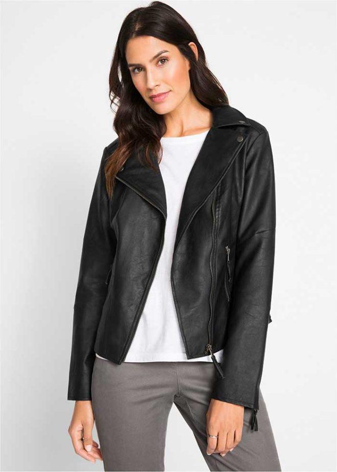 Черная куртка-косуха Бонприкс из искусственной кожи