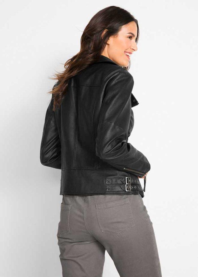 Черная куртка-косуха bonprix из искусственной кожи
