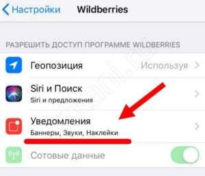 Выключение уведомлений от Вайлдберриз в мобильном телефоне
